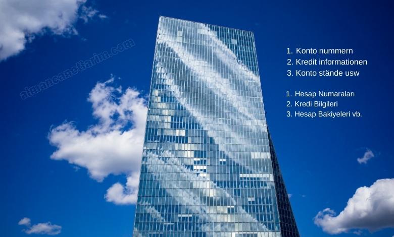 Almanca kisisel bilgiler banka